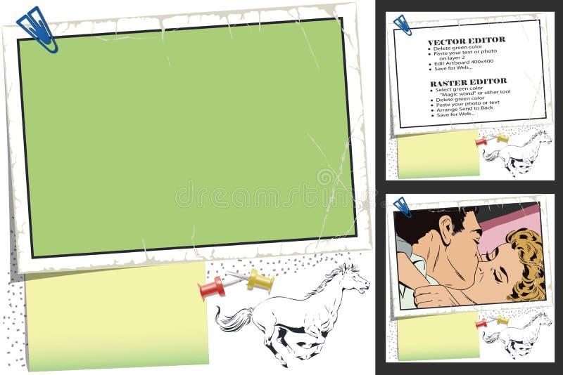 galloping лошадь Рамка для scrapbook, знамени, стикера, социального ne иллюстрация штока