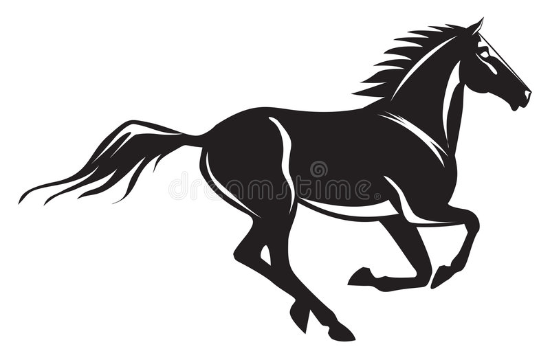 Galloping horse stock illustration