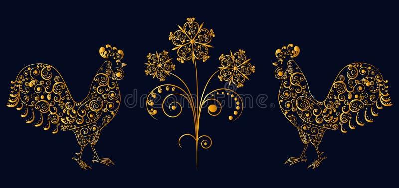 Gallos a cielo abierto del modelo del cordón con la flor ilustración del vector