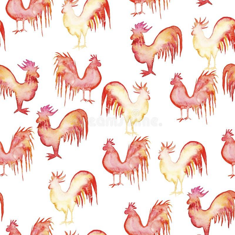 Gallos del whith del modelo stock de ilustración