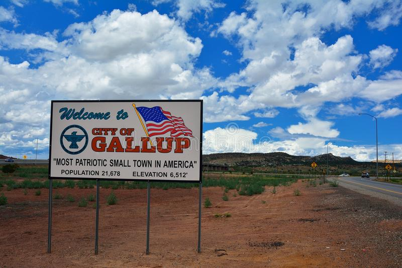 Welcome sign to Gallup, most patriotic small town in America. GALLUP, NEW MEXICO - JULY 22: Welcome sign to Gallup, most patriotic small town in America on July royalty free stock images