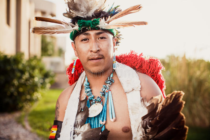 Gallup, New Mexico, USA. GALLUP , NEW MEXICO - AUGUST 04, 2013 : Native Americans with traditional costume participates at the annual Inter-tribal ceremonial stock photography