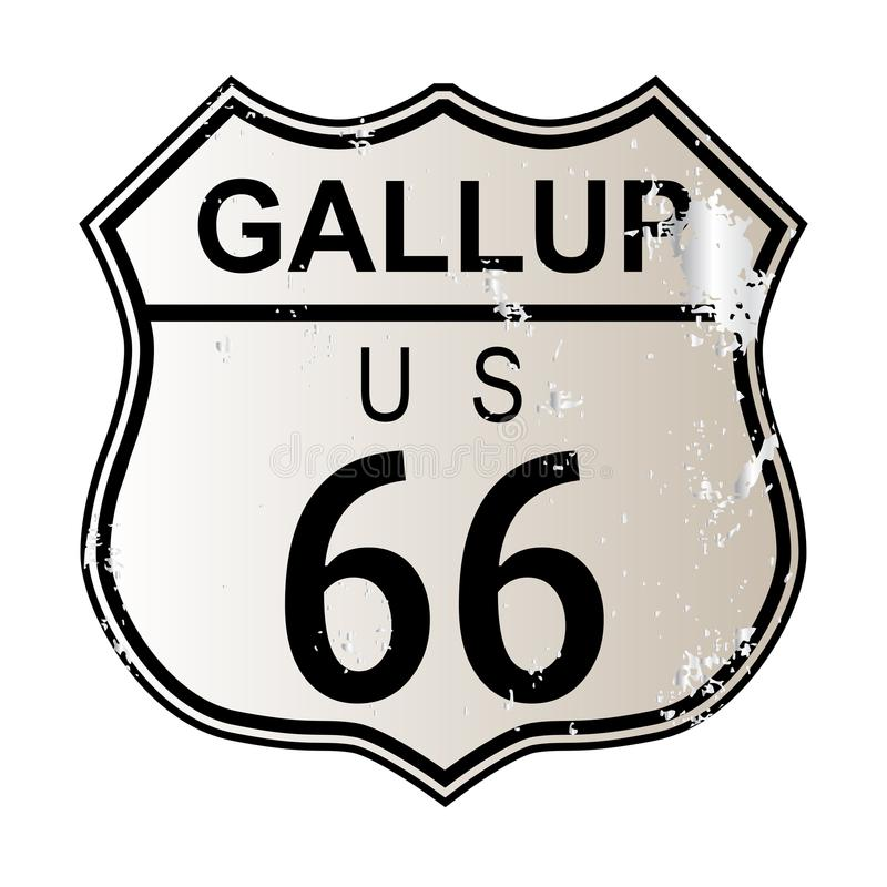 Gallup Route 66. Traffic sign over a white background and the legend ROUTE US 66 stock illustration
