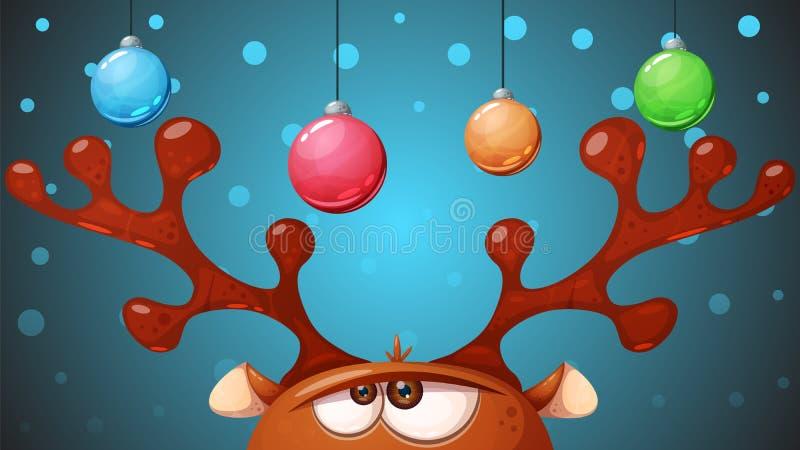 Galna gulliga hjortar lyckligt glatt nytt år för jul royaltyfri illustrationer