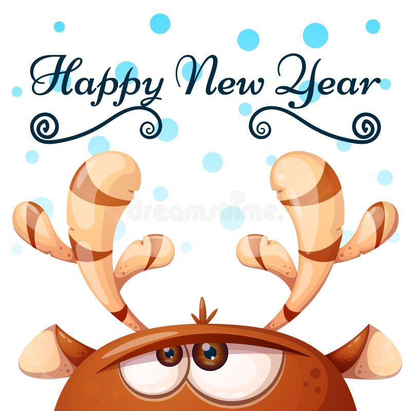 Galna gulliga hjortar lyckligt glatt nytt år för jul vektor illustrationer