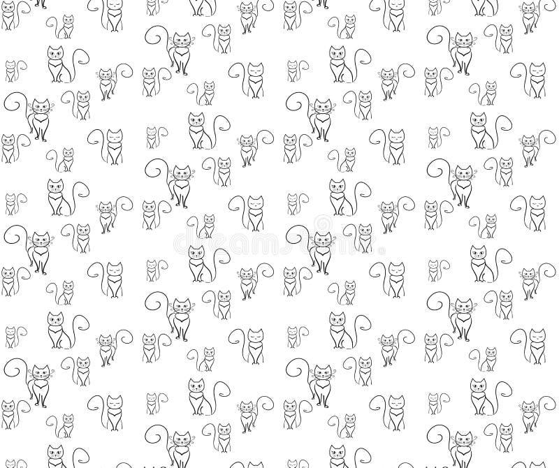 Galna katter för modell Översiktskatt på den vita blackgrounden stock illustrationer