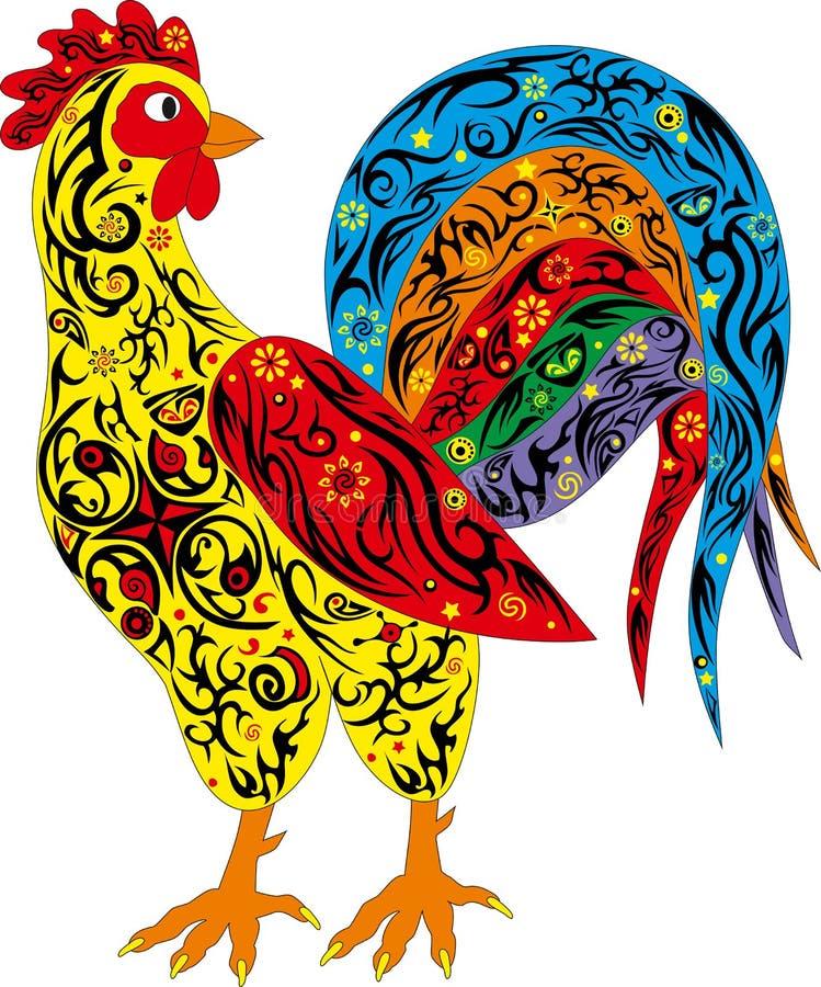 Galo com uma cauda longa, aves domésticas, um símbolo do ano novo, um grande galo, um animal com um teste padrão em um corpo fotos de stock royalty free
