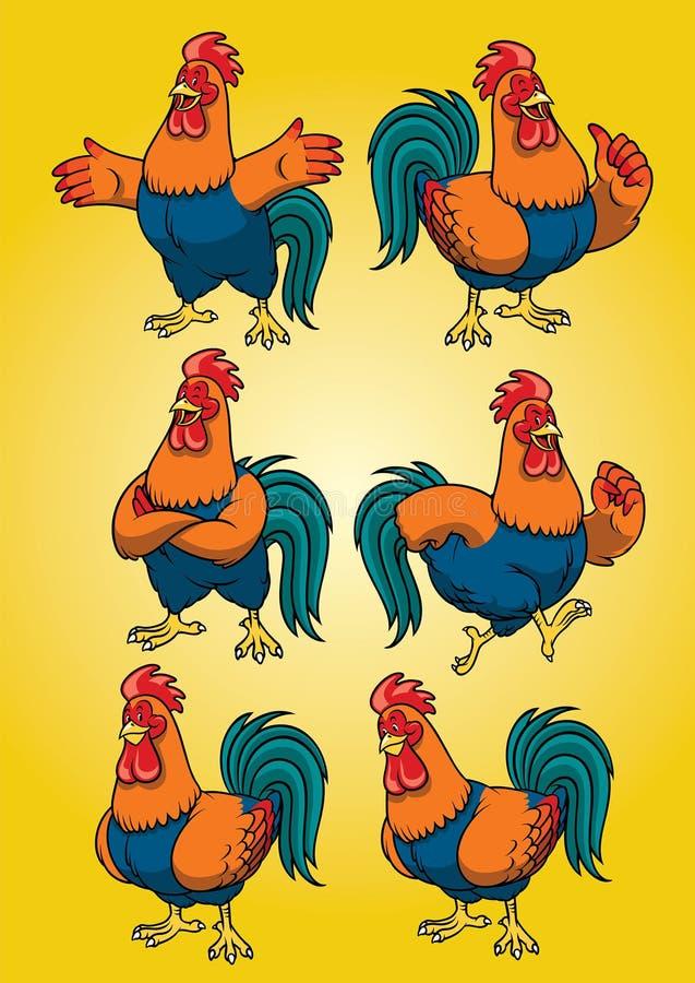 Galo da galinha com grupo do estilo dos desenhos animados ilustração stock