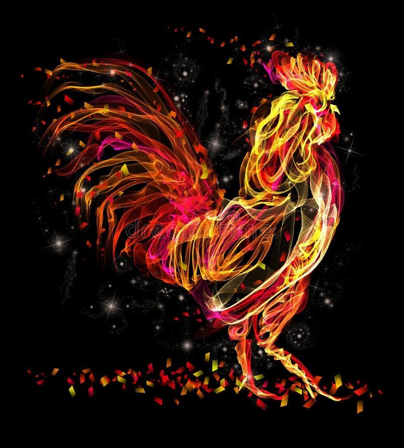 Galo do fogo Projeto fresco da faísca animal flamejante ilustração royalty free
