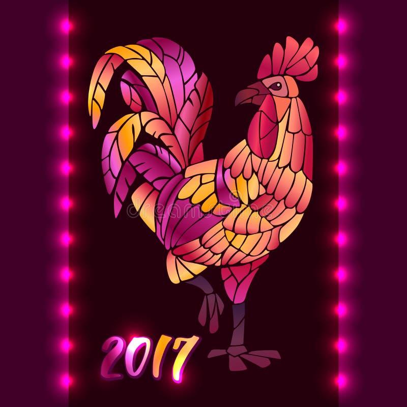 Galo do fogo vermelho Símbolo chinês do zodíaco do ano do galo ilustração do vetor