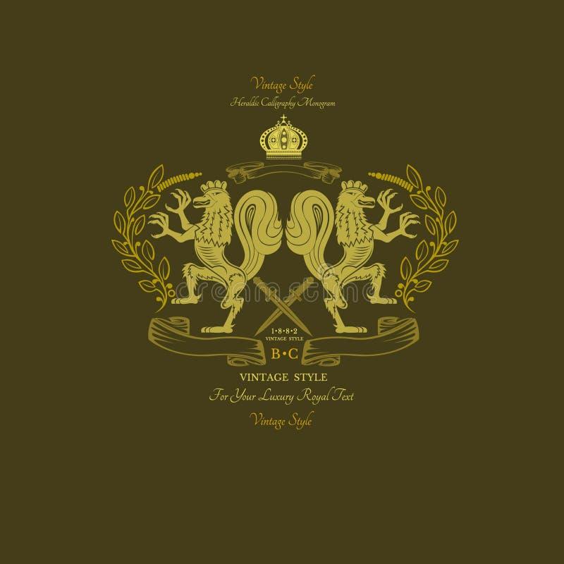 Galo dourado do leão dois no centro da grinalda Monograma amarelo real ilustração stock