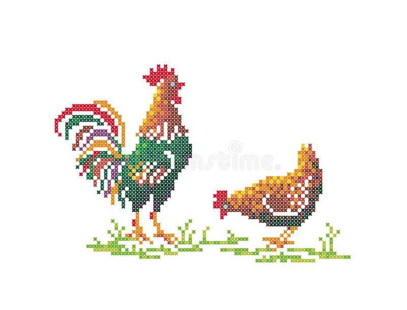 Galo e galinha ilustração stock