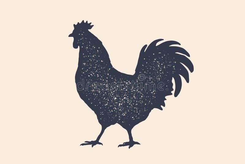 Galo, galinha, galinha, aves domésticas, silhueta Logotipo do vintage, cópia retro, cartaz ilustração do vetor