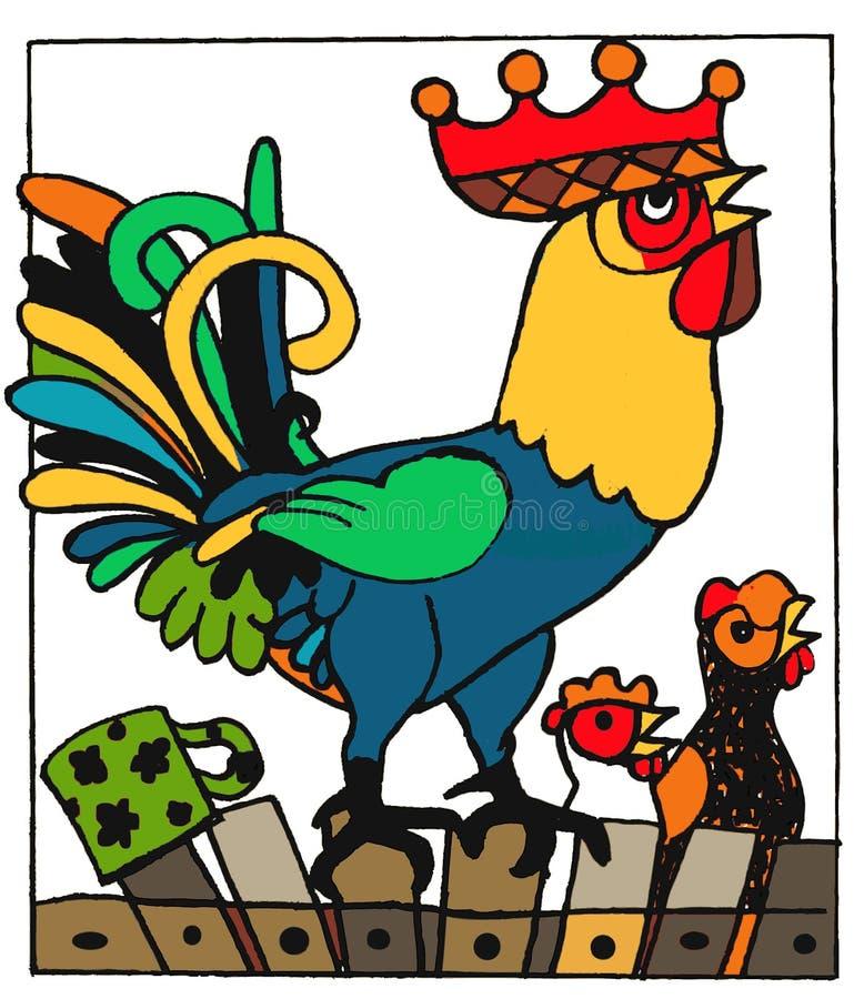 Galo grande, animais engraçados dos desenhos animados da página do livro para colorir imagem de stock
