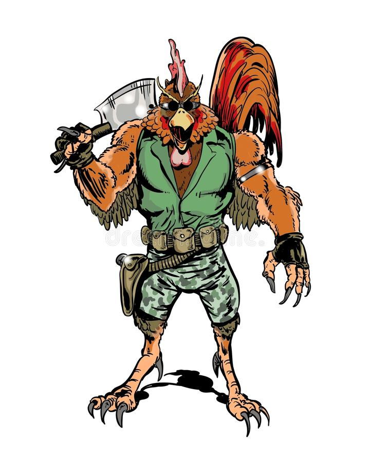 Galo ilustrado banda desenhada do caráter da vingança ilustração do vetor