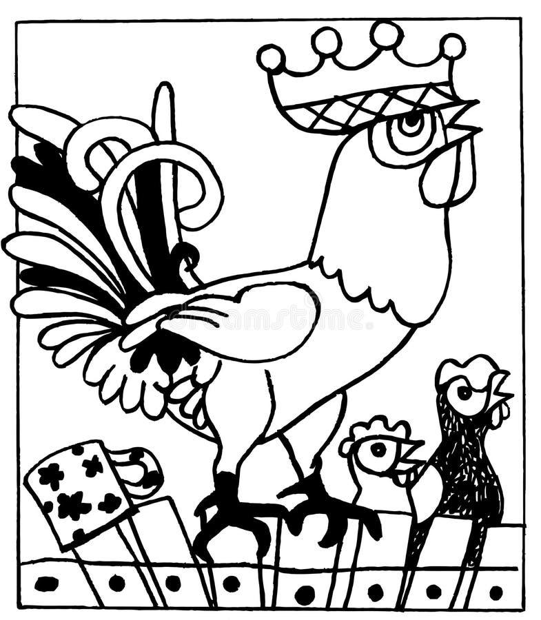 Galo, livro para colorir, animais engraçados dos desenhos animados fotografia de stock royalty free