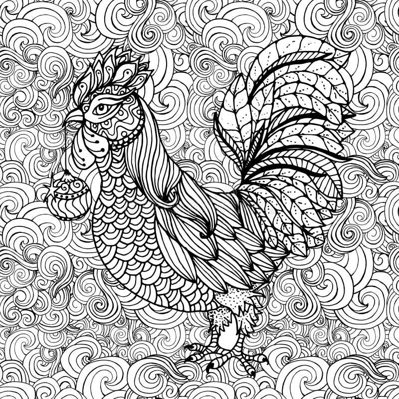 Galo, símbolo de 2017 para o calendário chinês Página do livro para colorir ilustração royalty free