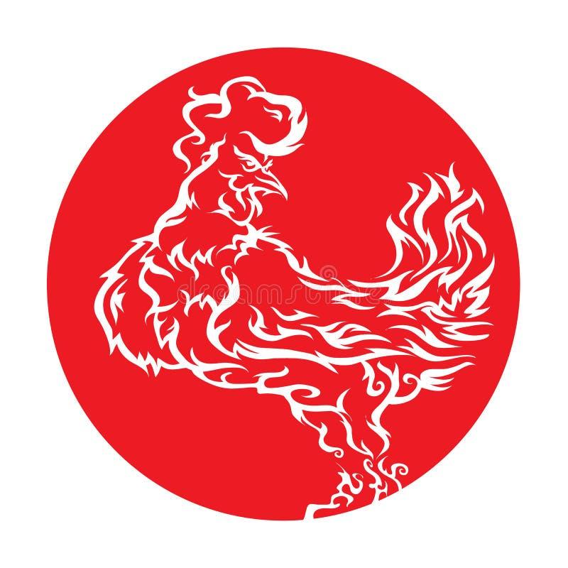 galo vermelho impetuoso 2017 ilustração royalty free
