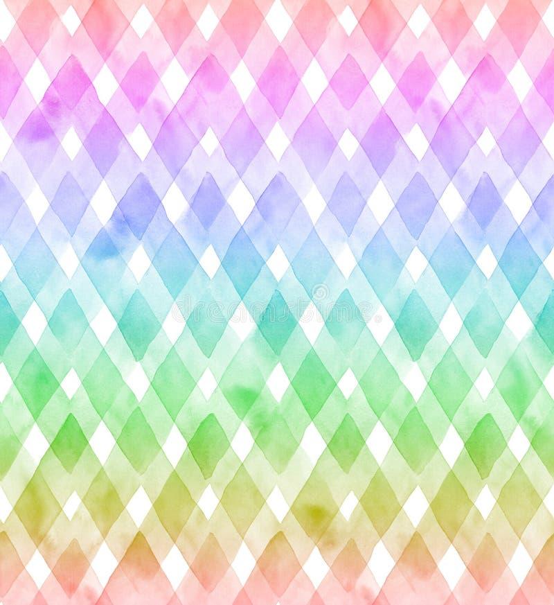 Galones de los colores del arco iris en el fondo blanco Modelo inconsútil de la acuarela para la tela stock de ilustración