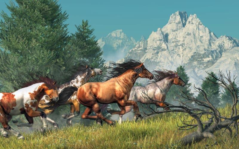 Galope de los caballos salvajes ilustración del vector