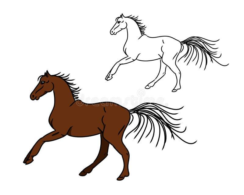 Galope del caballo - imagen del circuito y del color libre illustration