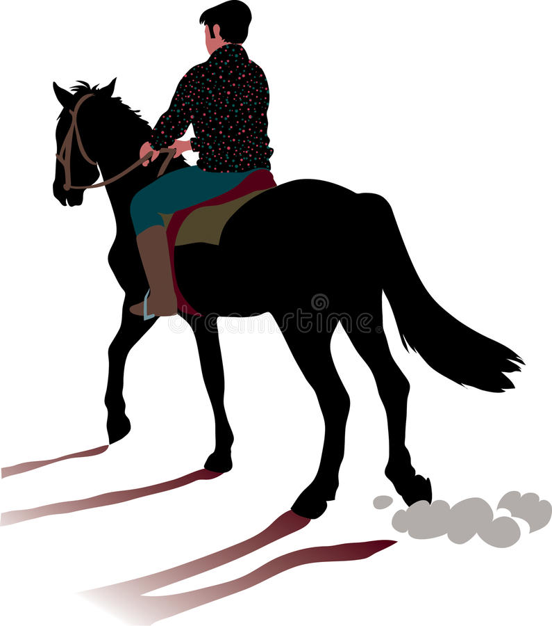 Galope del caballo y del jinete ilustración del vector