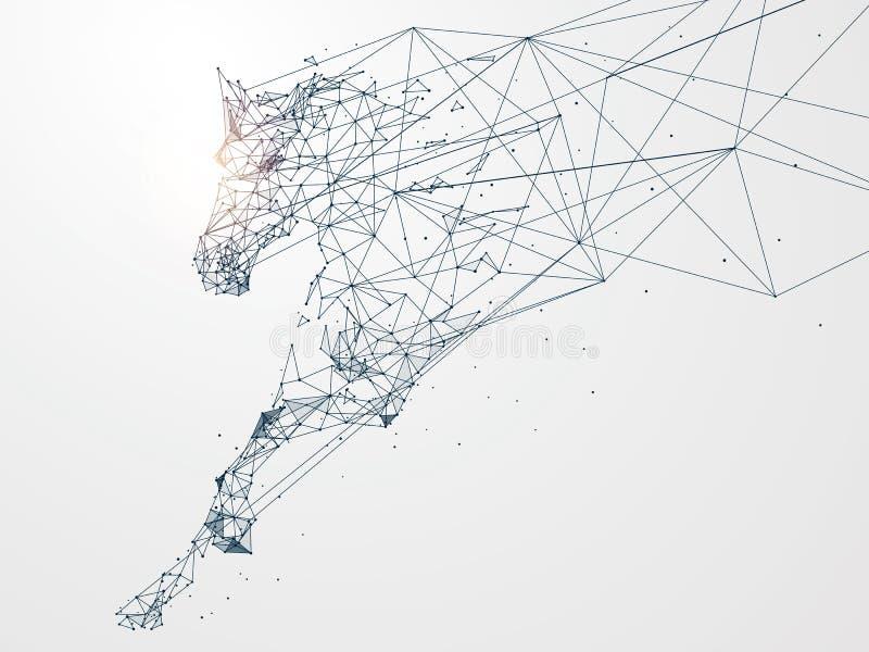 Galopujący koń, sieć związek obracający w ilustracji