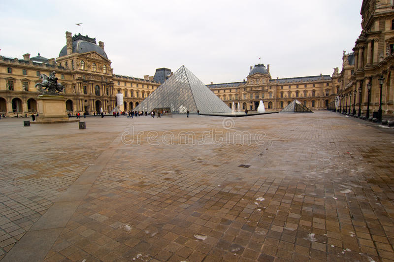 The galss pyramid of the Louvre, Paris stock image