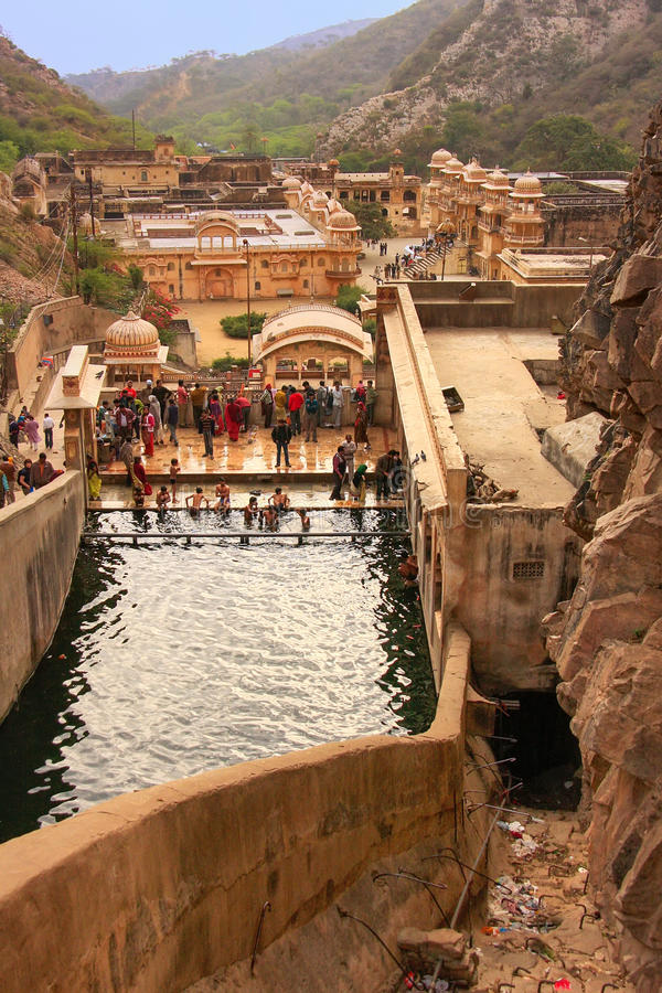 Galtaji Temple near Jaipur, Rajasthan, India. stock images