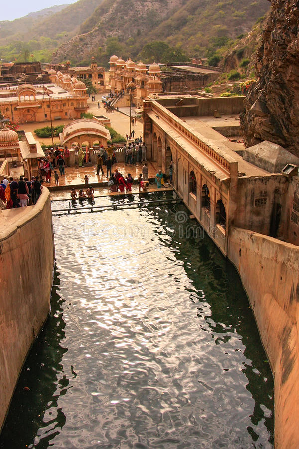 Galtaji Temple near Jaipur, Rajasthan, India. stock photos