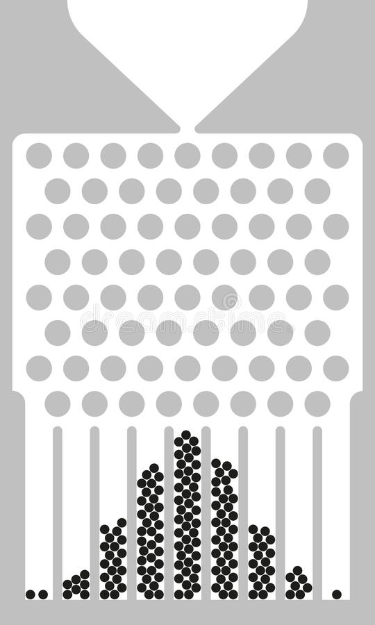Galtondoos, boonmachine, zwart-wit quincunx, royalty-vrije illustratie