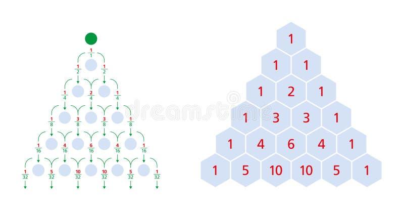 Galtonraad, normale distributie, Pascal-driehoek vector illustratie