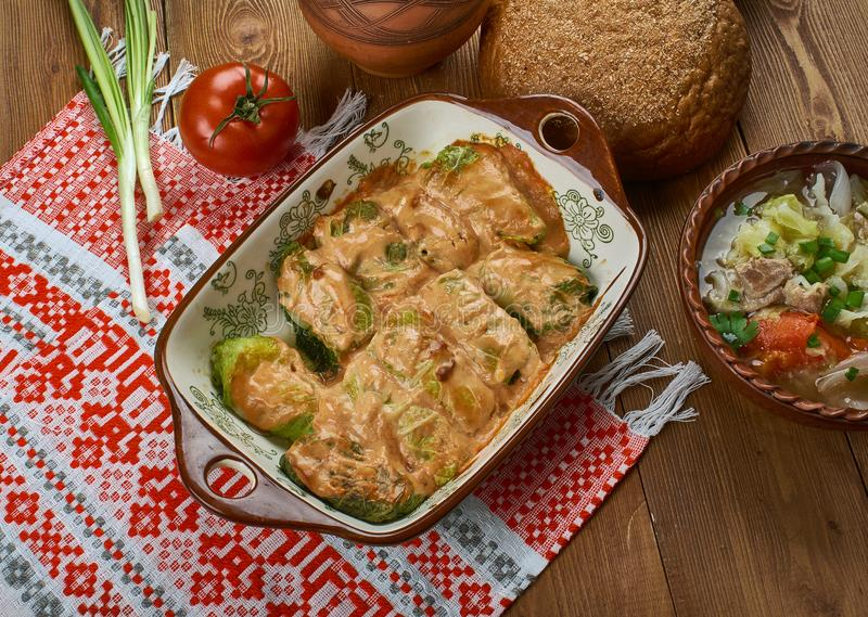 Polish Galumpkis. Galumpkis, Stuffed Cabbage Rolls, Polish cuisine , Traditional assorted Poland dishes, Top view stock images