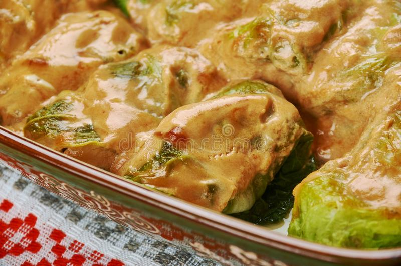 Polish Galumpkis. Galumpkis, Stuffed Cabbage Rolls, Polish cuisine , Traditional assorted Poland dishes, Top view stock photo