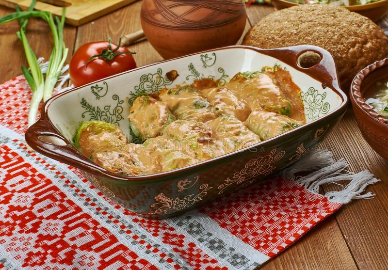 Polish Galumpkis. Galumpkis, Stuffed Cabbage Rolls, Polish cuisine , Traditional assorted Poland dishes, Top view royalty free stock image