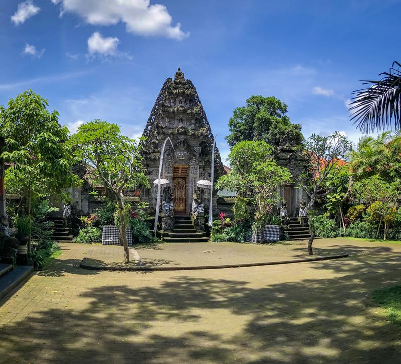 Ubud Palace, Ubud, Bali, Indonesia. Galungan 25 - 27 December 2018. Inside of Ubud Palace, Ubud tourist attraction, Bali, Indonesia. There was quite a crowd all royalty free stock photo
