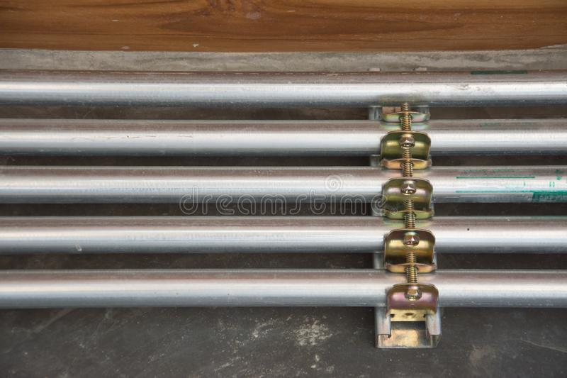 Galvanized conduit pipe connection. Thailand stock images