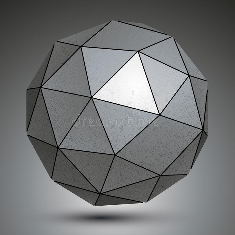 Free Galvanized Facet 3d Sphere, Grayscale Abstract Object. Royalty Free Stock Photos - 45382818