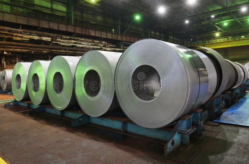 Galvanized role steel. In steel plant stock image