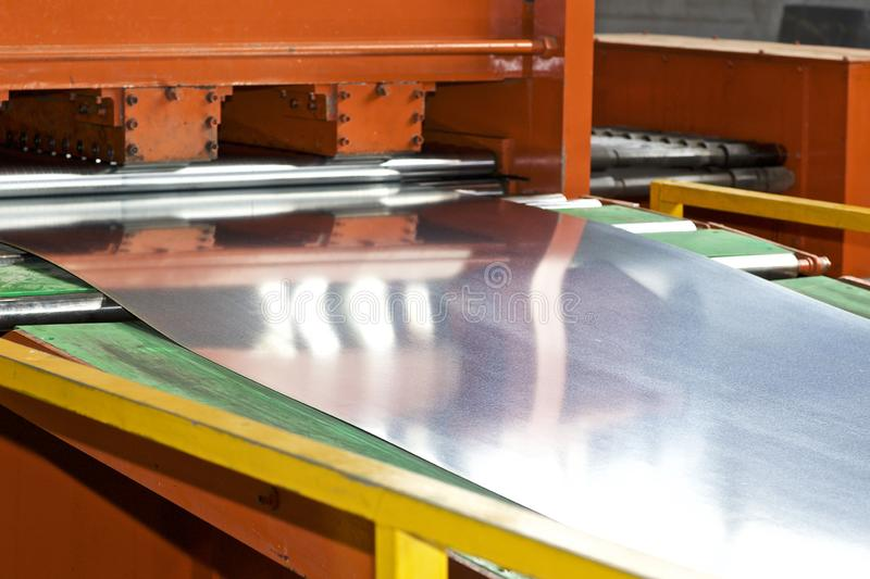 Galvanized sheet in the machine for further processing royalty free stock images