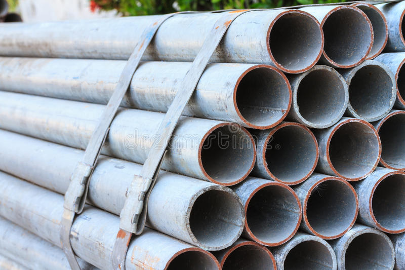 Galvanized Steel Pipe. For construction industry stock image