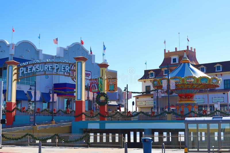 Galveston Island Historic Pleasure Pier decorated for Christmas. royalty free stock images