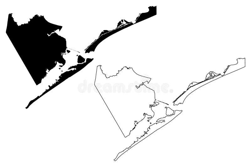 Galveston okręg administracyjny, Teksas okręgi administracyjni w Teksas, Stany Zjednoczone Ameryka, usa, U S , USA mapy wektorowa royalty ilustracja