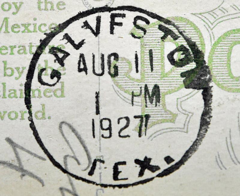 Galveston Teksas Postmark 1927 fotografia royalty free