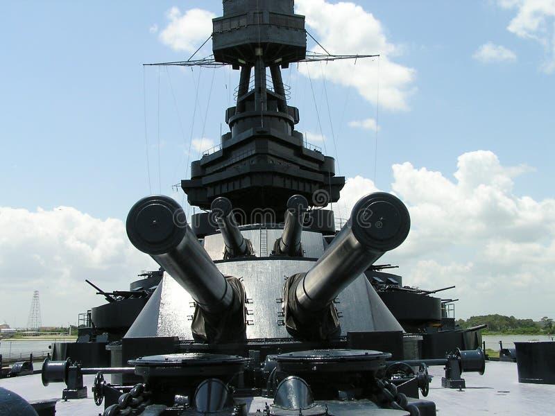 GALVESTON TEXAS - JULI 13, 2003: Slagskepp USS Texas royaltyfria foton
