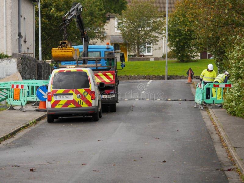 26/09/2019 Galway city, Ireland, Broadband internet upgrade works in town imagem de stock
