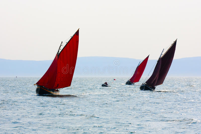 Galway hookers at Ocean race stock images