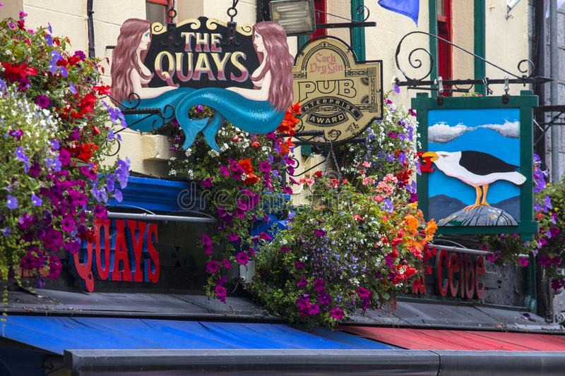 Pubs and Bars on Quay Street in Galway royalty free stock photos