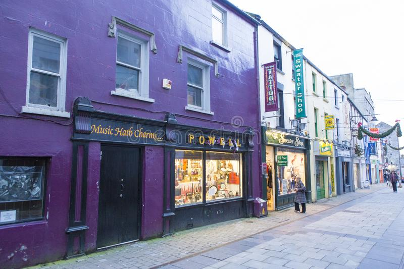 Galway street view. Holly day spirit on Galway, Ireland stock image