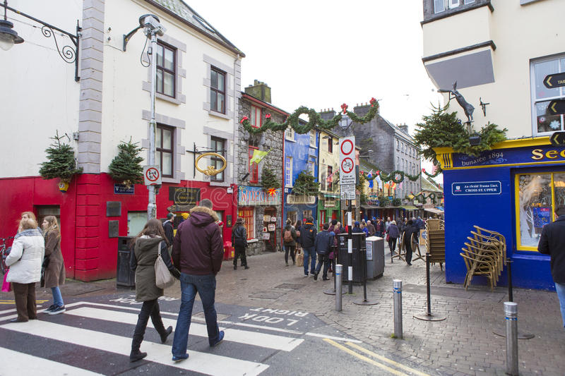 Galway street view. Holly day spirit on Galway, Ireland stock photography